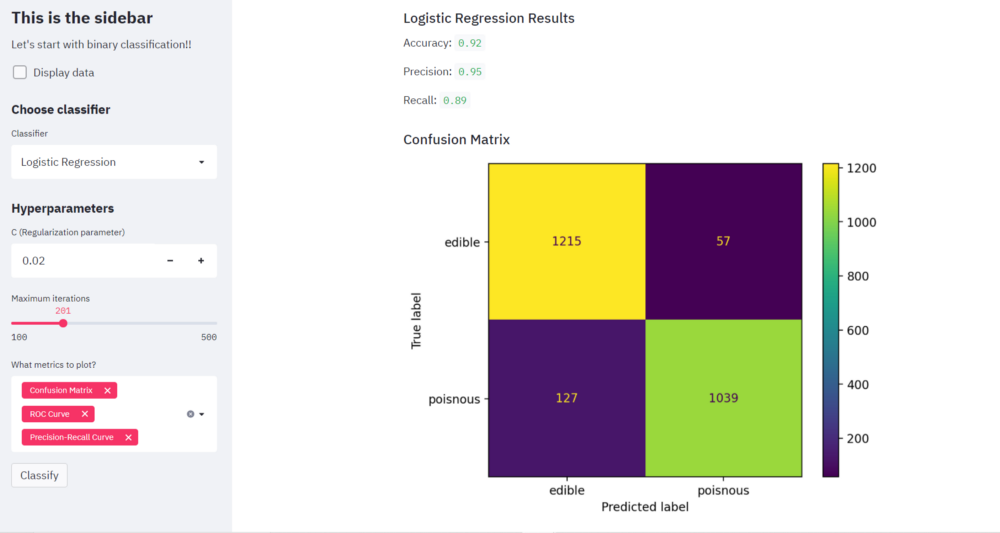 confusion matrix   webapps with streamlit