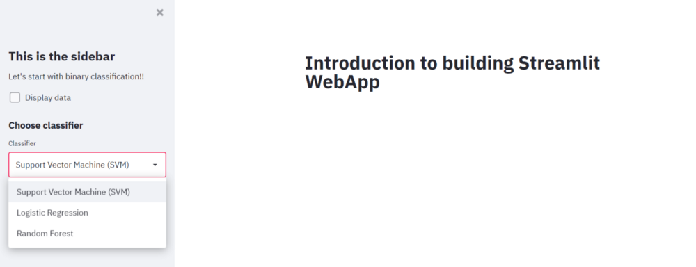 webapps with streamlit  svm