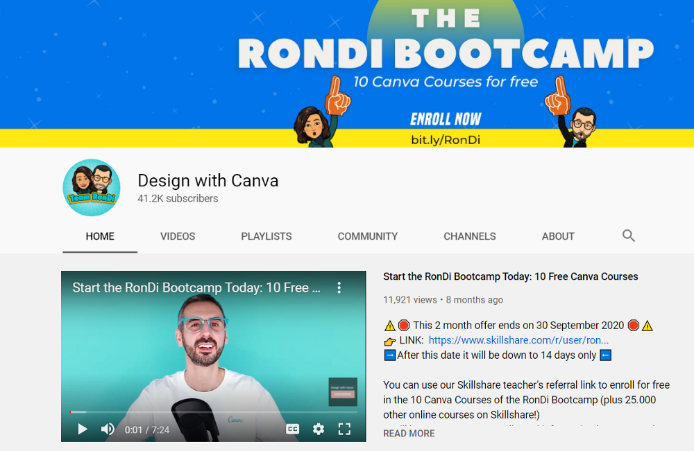 Learn canva from youtube