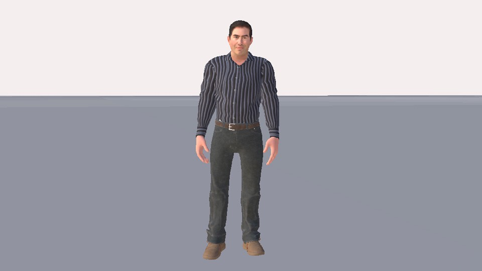 Howard's complete 3D avatar in High Fidelity.
