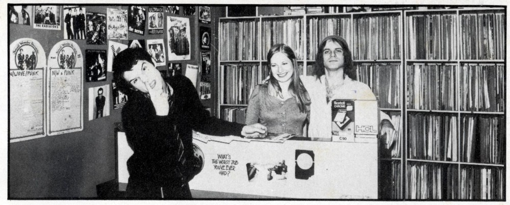 Pete and Mari Stennett behind the counter at Small Wonder Records (which they opened in December 1975 and ran until 1983)