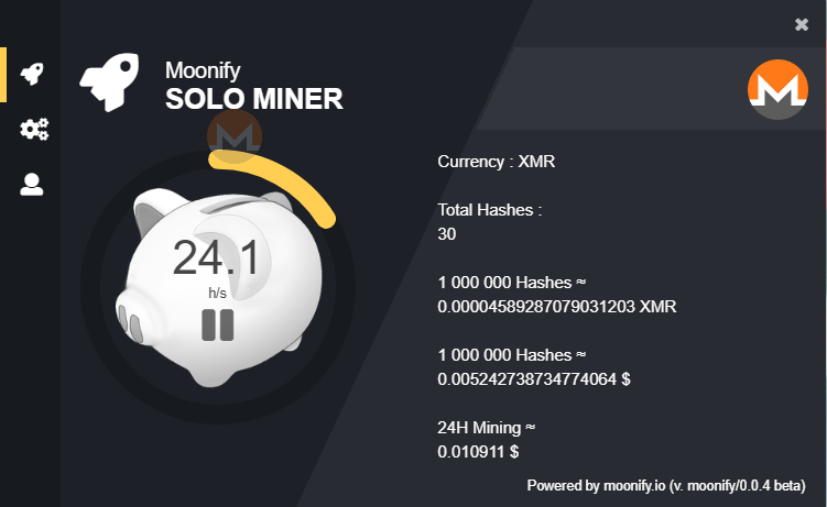 A CPU miner for Monero and Electroneum. Start earning cryptocurrency with the click of a button. Dedicated desktop app intended for solomining. Transforms idle CPU power into currency. Minimum payout 0.1 XMR, 100 ETN.