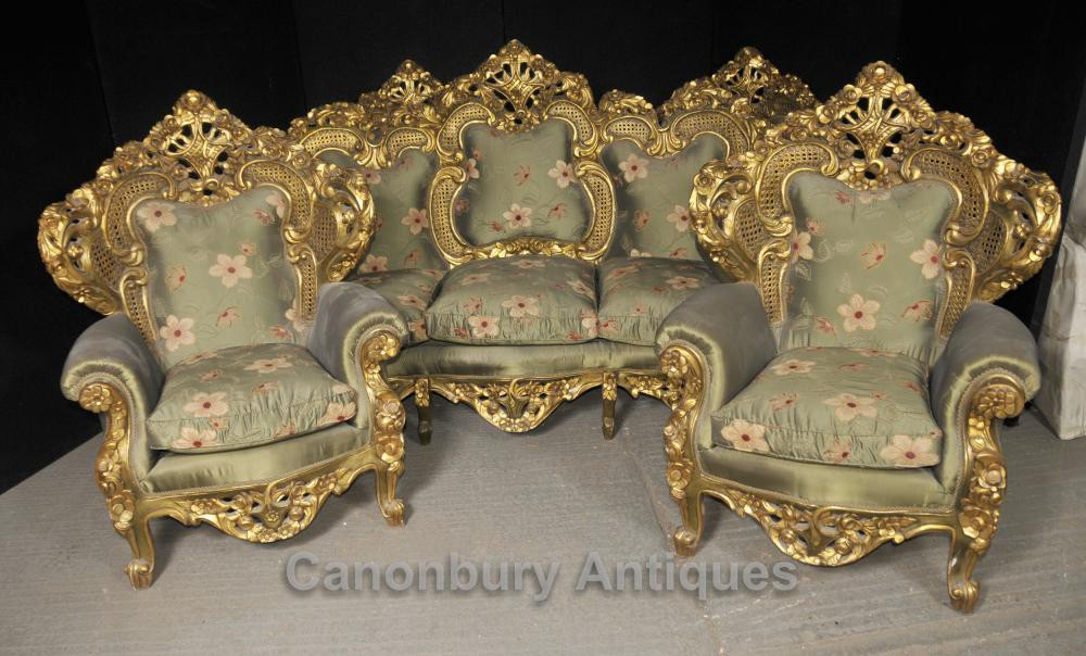 Antique French Rococo Sofa Suite Gilt Arm Chairs Lounge Chair Chippendale