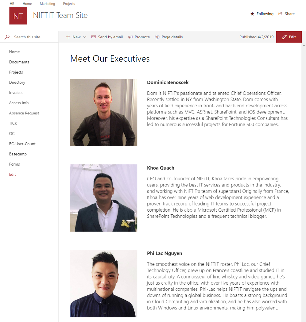 SharePoint Modern Experience Page Layout Samples