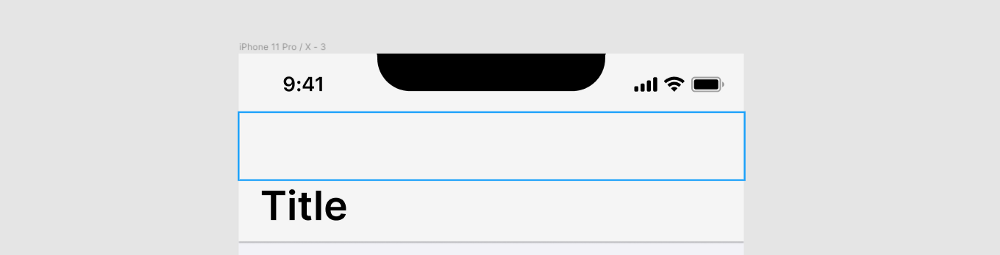 A screenshot showing a rectangle outline at the top of an iPhone frame.