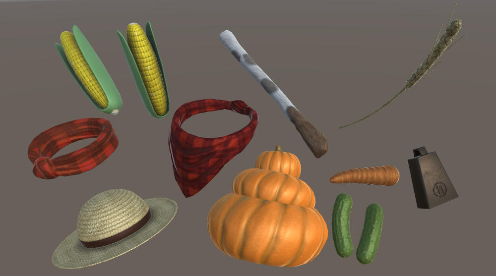 3D wearables in High Fidelity's VR platform, like hats, food, and other 3D avatar accessories.
