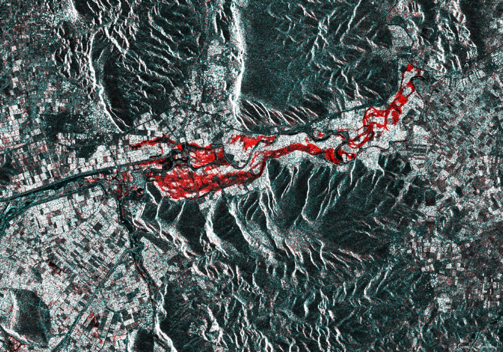 The Sentinel-1 RGB stack as described above showing the flooding on February 23, 2018.