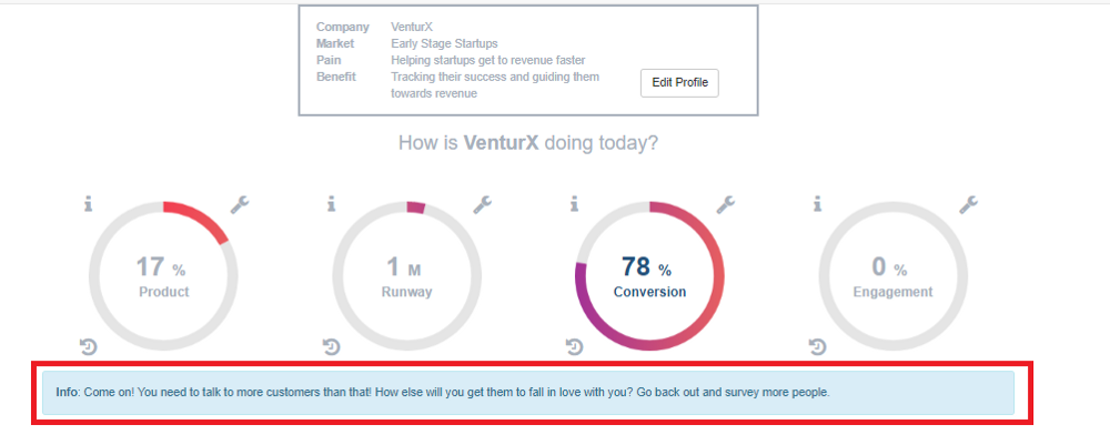 VenturX Startup Dashboard with Hints