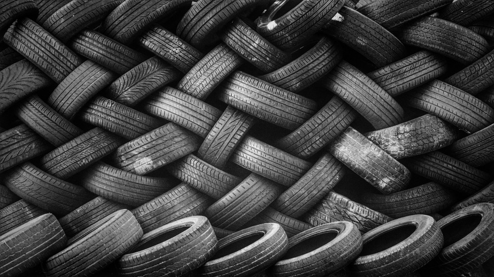A pile of old car tires.