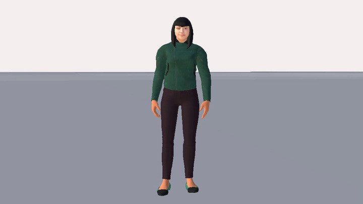 Jazmin's complete 3D avatar in High Fidelity.