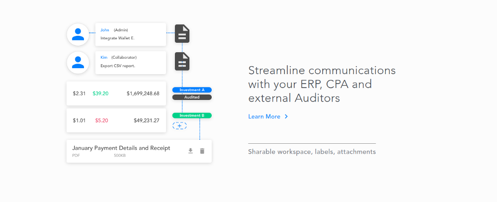 Streamline communications with crypto ERP, CPA and auditors