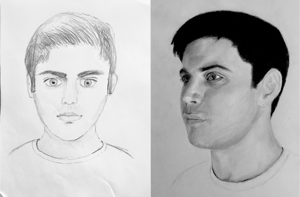 My self portrait before and after