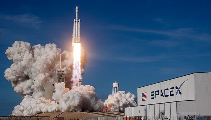 Falcon heavy payload fairing and interstage is made out of Carbon fiber composite.