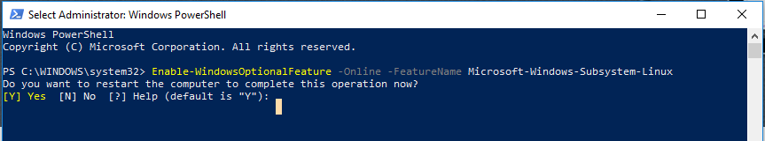 Powershell window to enable Linux on windows