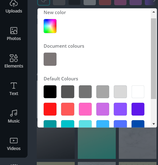 Different color availability in canva