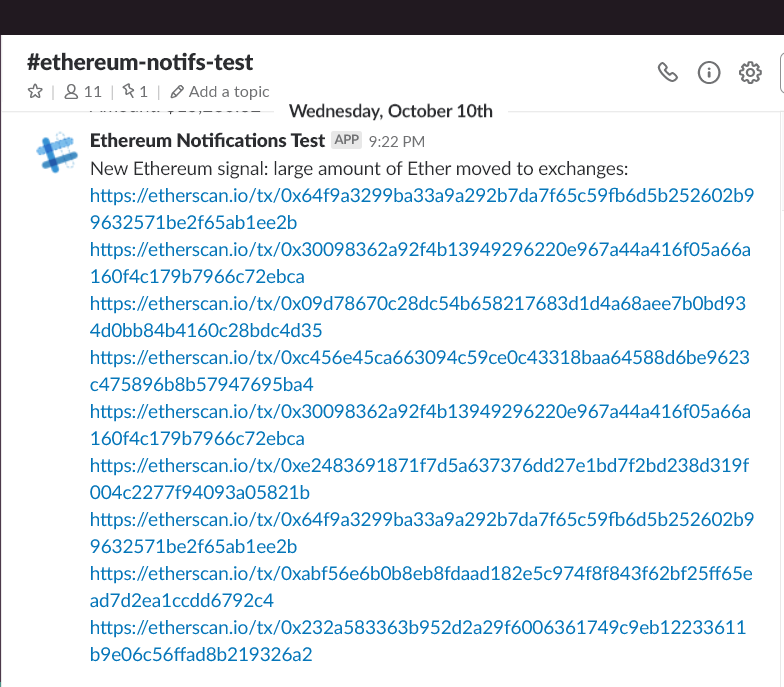 Alpha model of our ETH to exchange signal, broadcasted on Slack