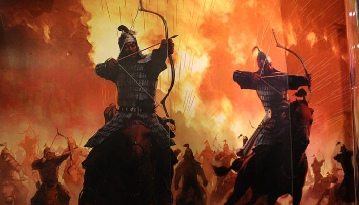 Mongol bows used in wars (Image courtesy: Mongolian Empire Warrior Mural by Oscar Padilla Álvarez Licensed under CC0 1.0)