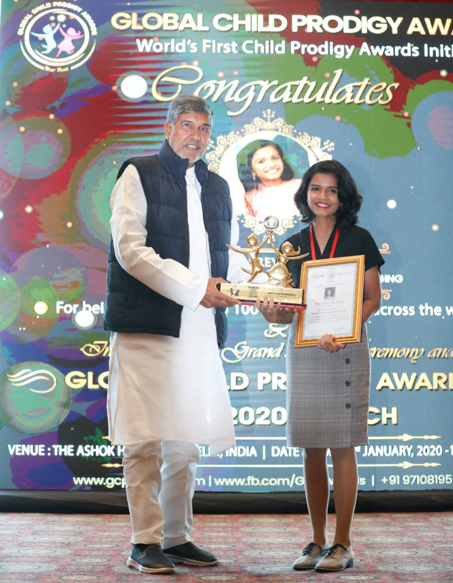 Sreya Jayadeep winning Global Child Prodigy Awards 2020.