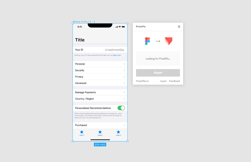 A screenshot of an iPhone frame and the ProtoPie plugin, inside of Figma