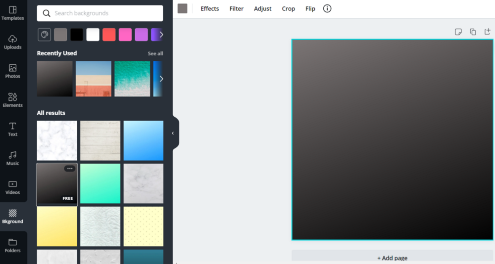 Background option in canva