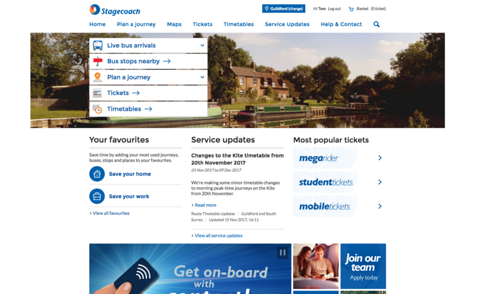 Stagecoach homepage UX