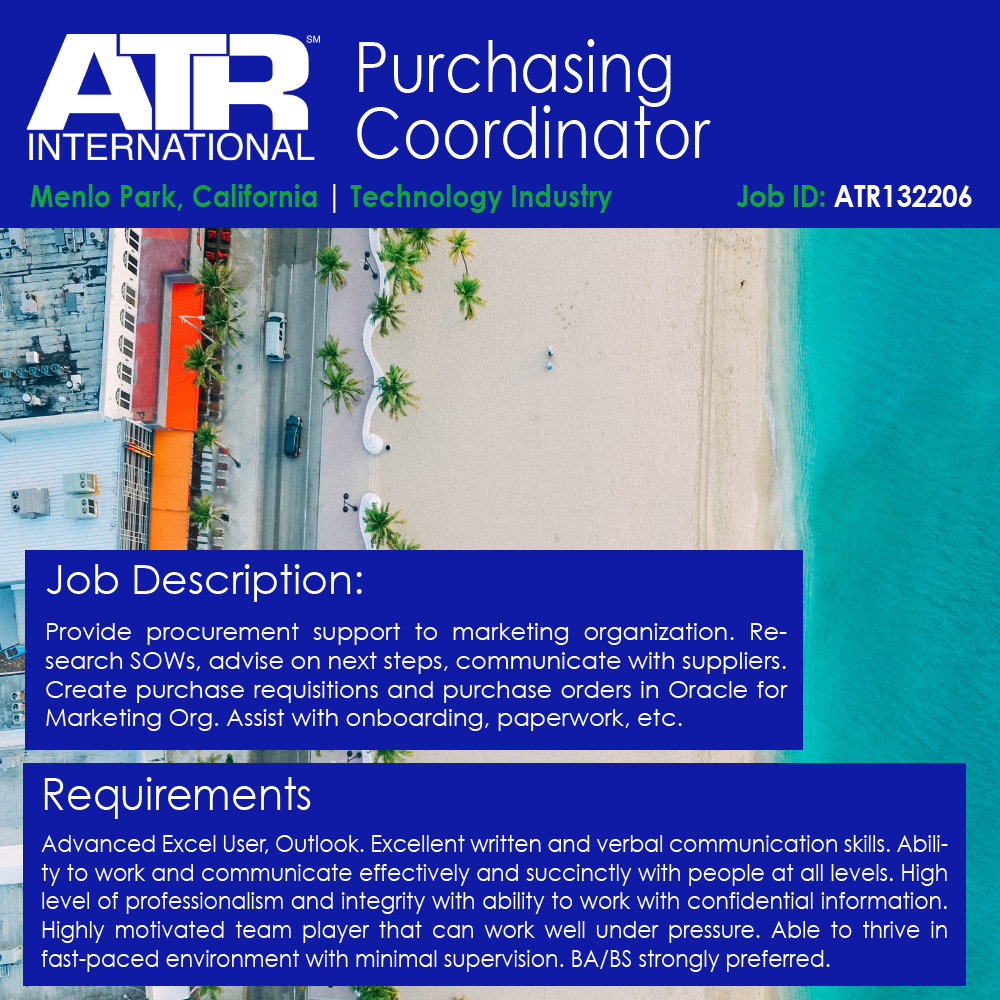 Purchasing Coordinator Atr International Medium