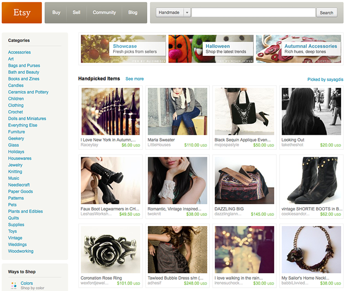 Etsy's search interface with infinite scroll. Current version has a pagination.