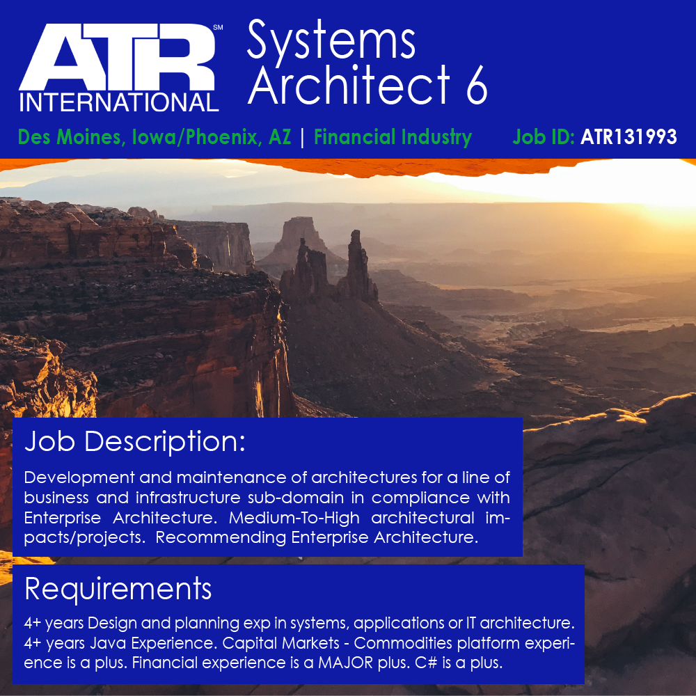 Systems Architect 6 ATR International Medium – Java Architect Job Description