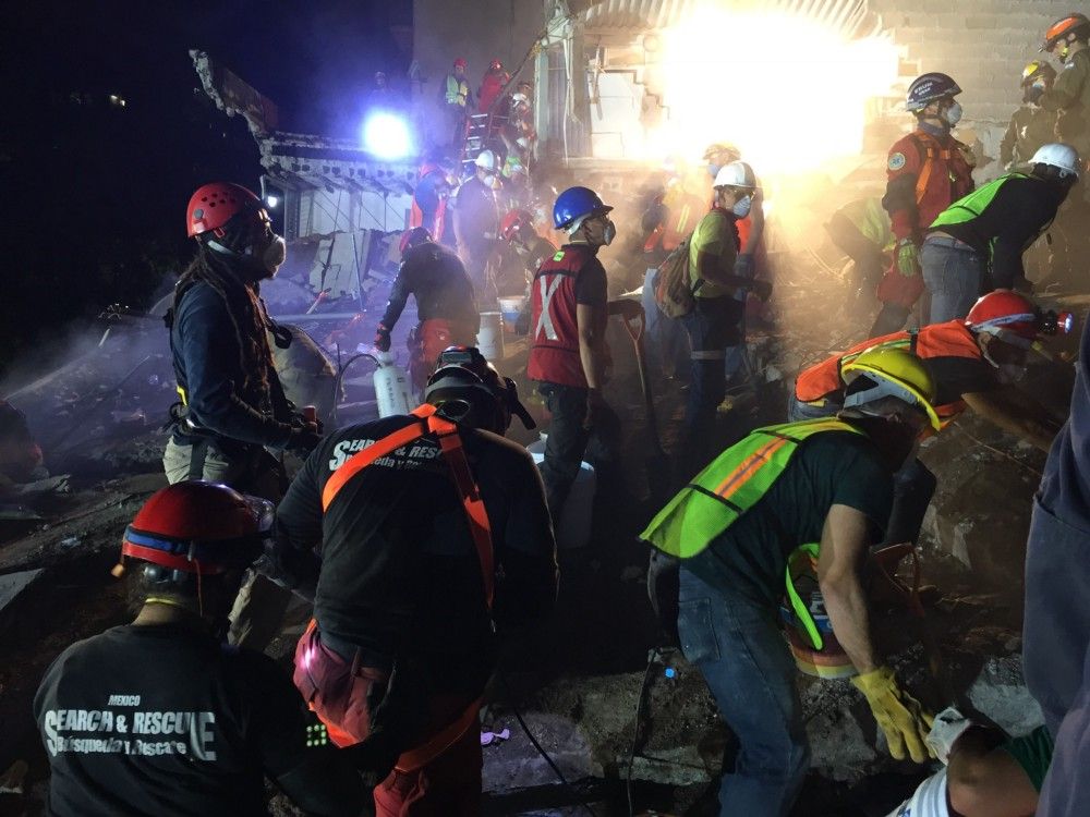 Working with their Mexican counterparts, as well as other international search and rescue teams, USAID's USAR team searched the site through the night to help locate survivors.