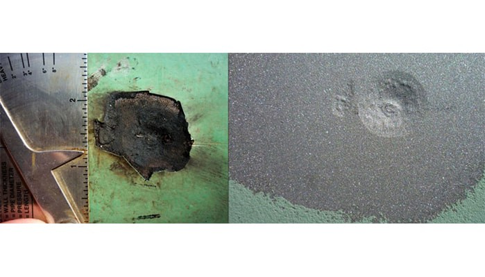 Before and after covering of a corrosion pit post abrasive blasting (Image Courtesy: corrosion pit by Cafe Nervosa Licensed under CC BY-SA 3.0)