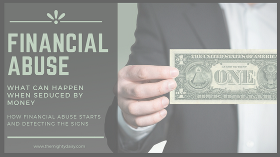 Graphic showing someone holding money and the title of the blog post about financial abuse.