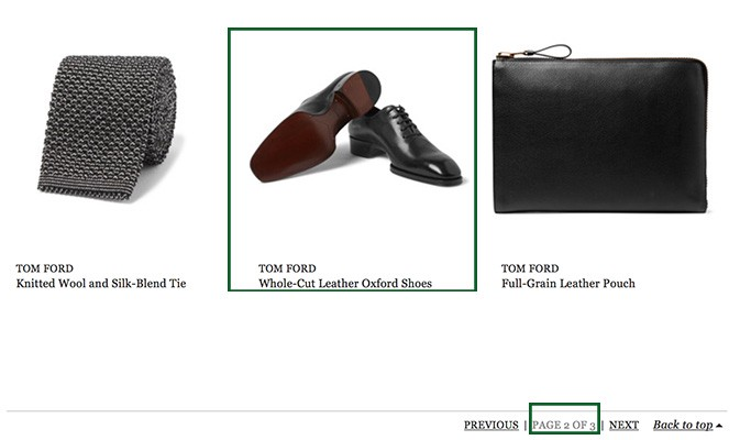 MR Porter site uses a pagination for items
