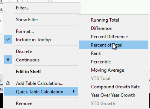 Quick table calculations