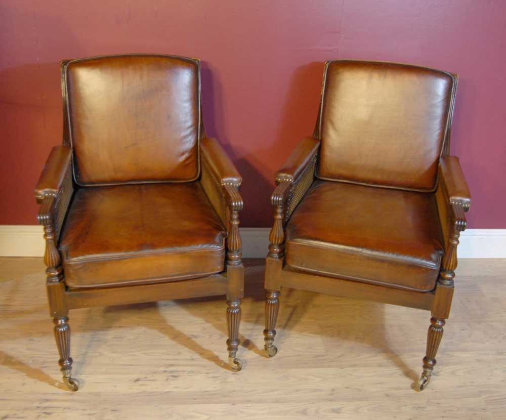 You Are Viewing A Gorgeous Pair Of French Bergere Arm Chairs In Walnut With  Leather Seats To The Back And Sides. What Can You Say About The Bergere  Chair?