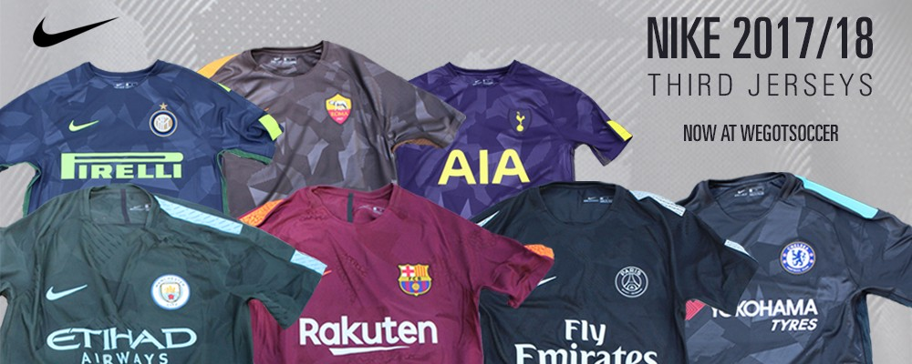In an unusually late launch, Nike has introduced the 2017/18 third kits for  several of Europe's top clubs. Barcelona, Chelsea, Inter Milan, Manchester  City, ...