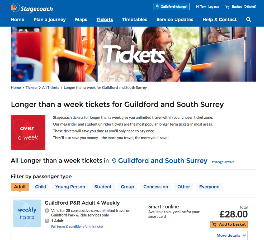 Tickets on Stagecoach