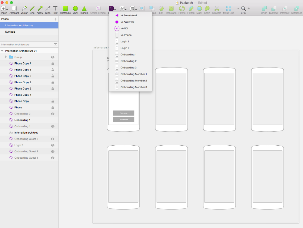 use sketch to combine wireframes and information