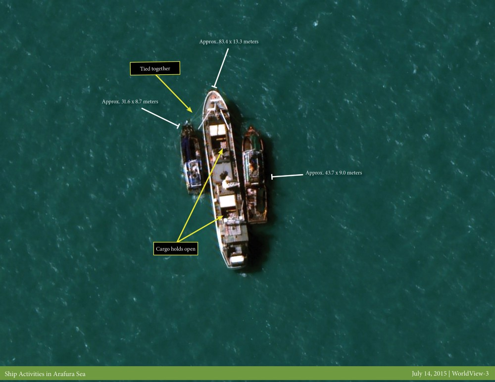 Satellite image of the Silver Sea 2 that shows a transshipment with two slave fishing boats off the coast of Papua New Guinea | Image credit: CSM Projects, Courtesy of DigitalGlobe