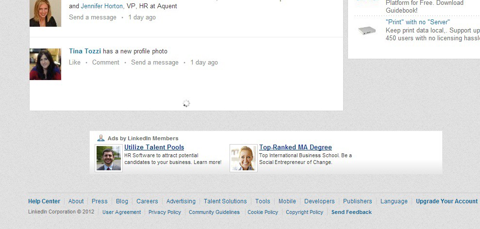 When LinkedIn introduced infinite scrolling in 2012, users managed to grab a screen just before it loaded new stories.