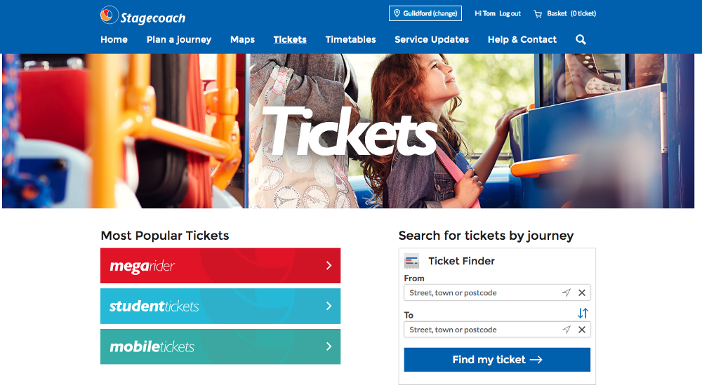 Stagecoach tickets page