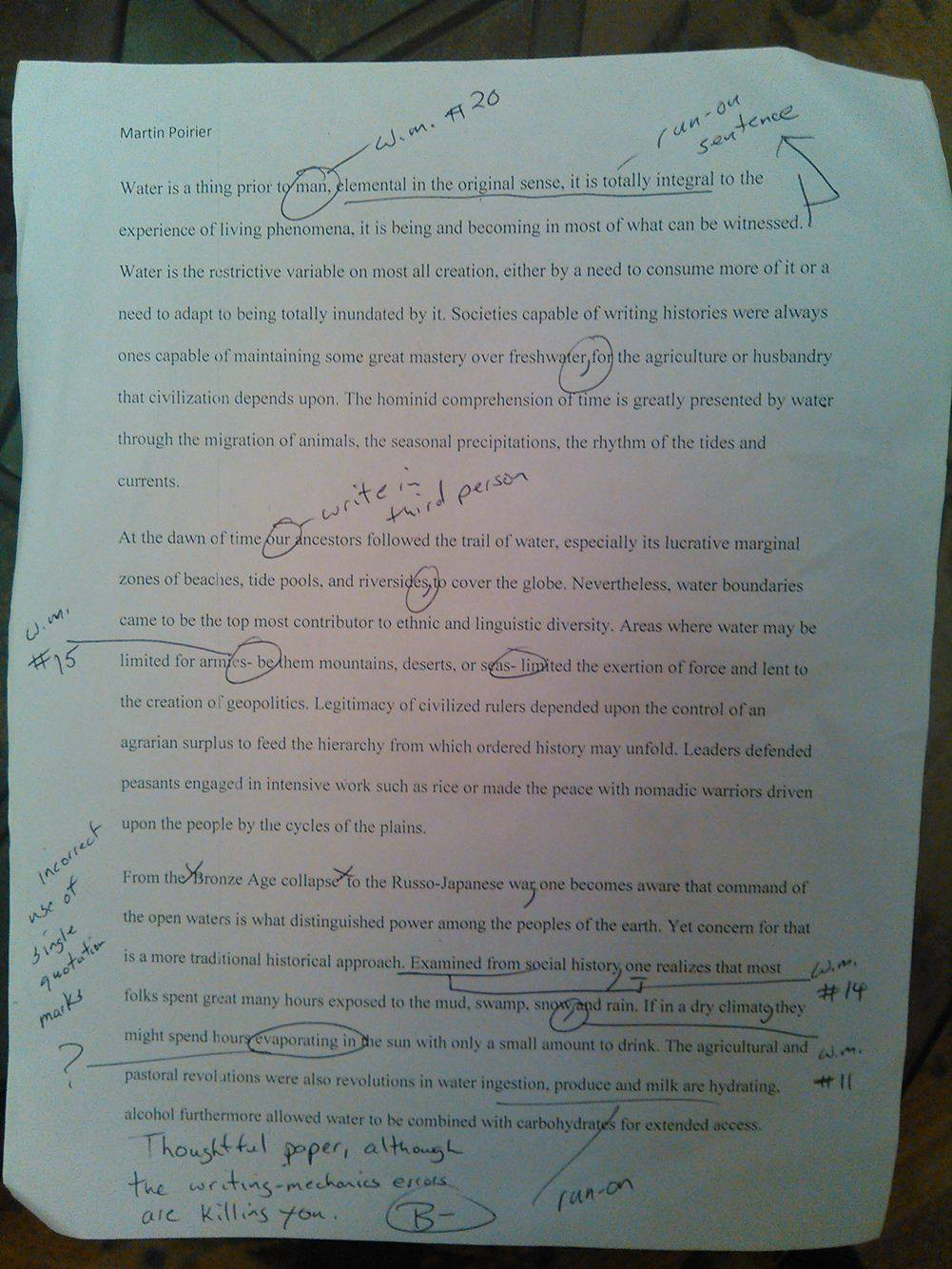 "uf professor lowers grade for use of the word ""man"" at the bottom of the essay davis final remarks on the paper state ""thoughtful paper although the writing mechanics errors are killing you """