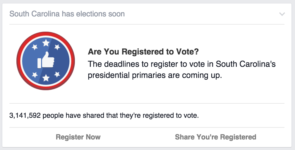 Votea teams up with facebook to increase voter registration certain facebook users see this voting registration reminder at the top of their feed the reminder links to votea sciox Choice Image