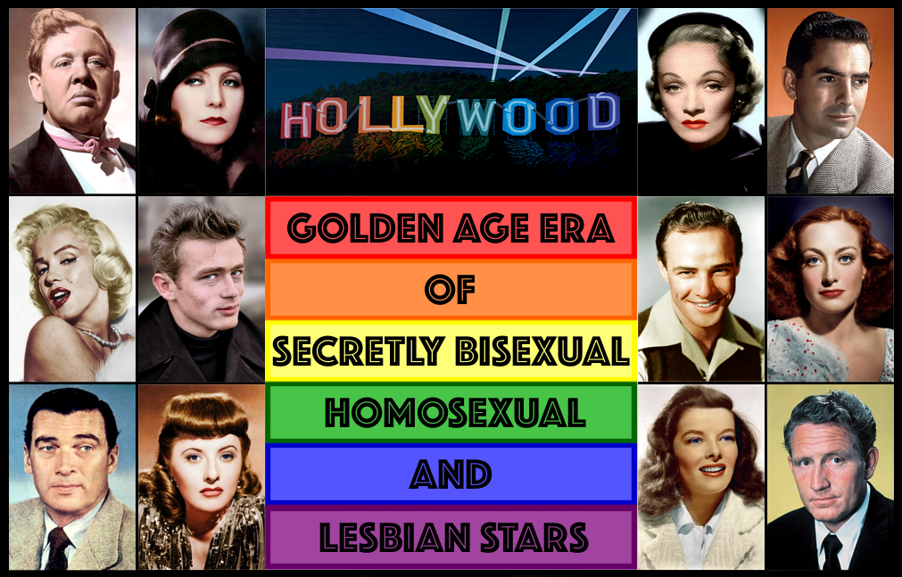 "Photograph of a ""Gay Pride"" Hollywood sign and article title with a display  of just some of the 18 speculative or verified actors and actresses from  the ..."
