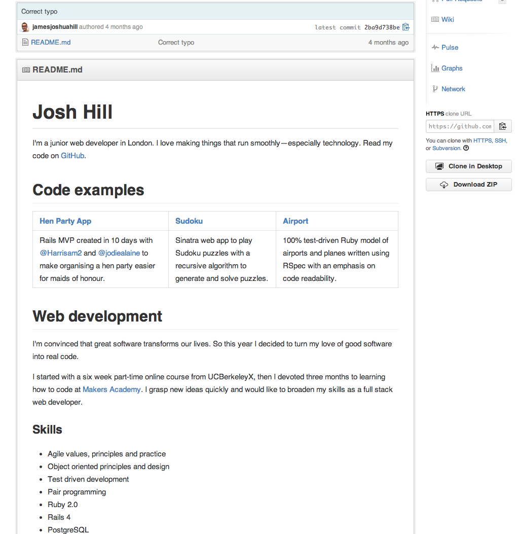 Using Github CVs for developers – Makers