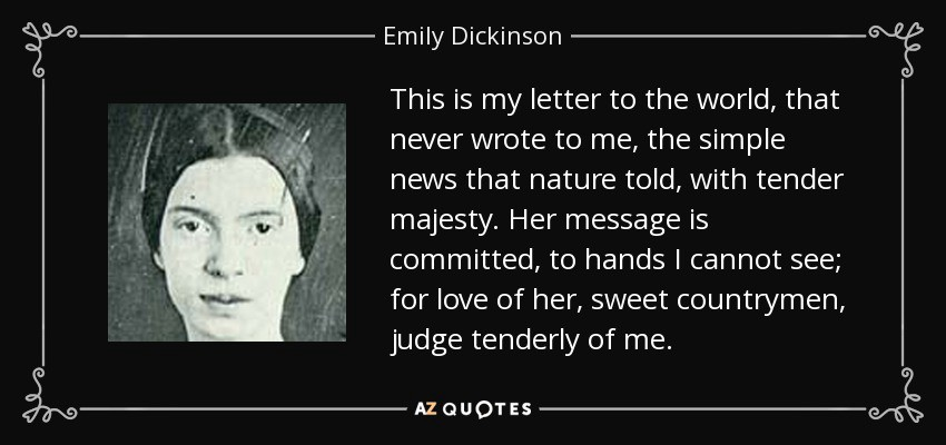 critical analysis of emily dickinsons my Critical analysis of emily dickinson's there's been a critical analysis of 'i heard a fly textual analysis of emily dickinsons poem the brain is wider than.