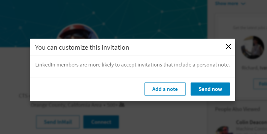 how to personalize an invitation on the linkedin app