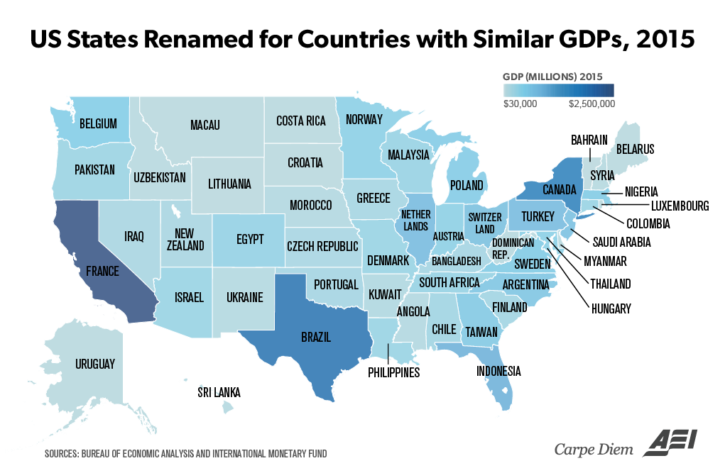 Putting America S Ridiculously Large 18t Economy Into Perspective By Comparing Us State Gdps To