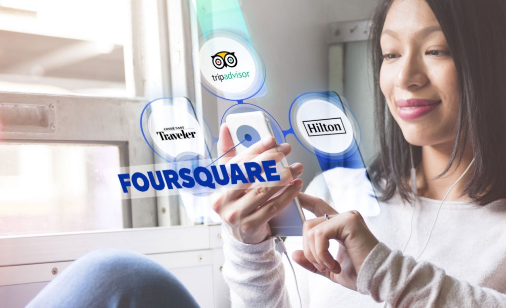 Woman tapping phone with images showcasing Foursquare's travel partners