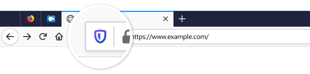 Image of shield in the Firefox address bar highlighted.