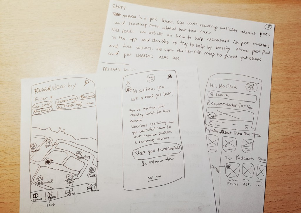 Sketches of the UI